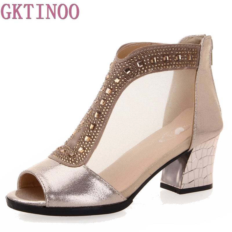 Sexy Rhinestones Women Sandals Breathable Summer Open Toe Sandals Thick Heel High-heeled Shoes Black Gold Women's Gauze Shoes