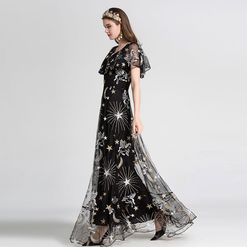 High Quality Fashion Designer Maxi Dress 2018 New Women s Elegant Ruffles  Moon Star Embroidered Mesh Long Party Dress Free DHL-in Dresses from Women s  ... e93bc793926f