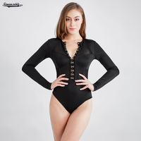 European Fashion Metal Buckle Mesh Stitching Long Sleeved Piece Shorts Female Winter Sexy Leotard Club Perspective