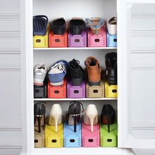 Cheap Korean creative candy colored thick one-piece plastic shoe rack storage simple double care