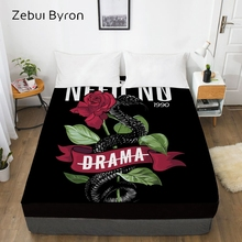3D индивидуальная Кровать Простыня на резинке, натяжная простыня queen/King, с изображением черной гадюки розовый чехол для матраса, 200/150/160/180x200 простыней на кровать, Прямая поставка