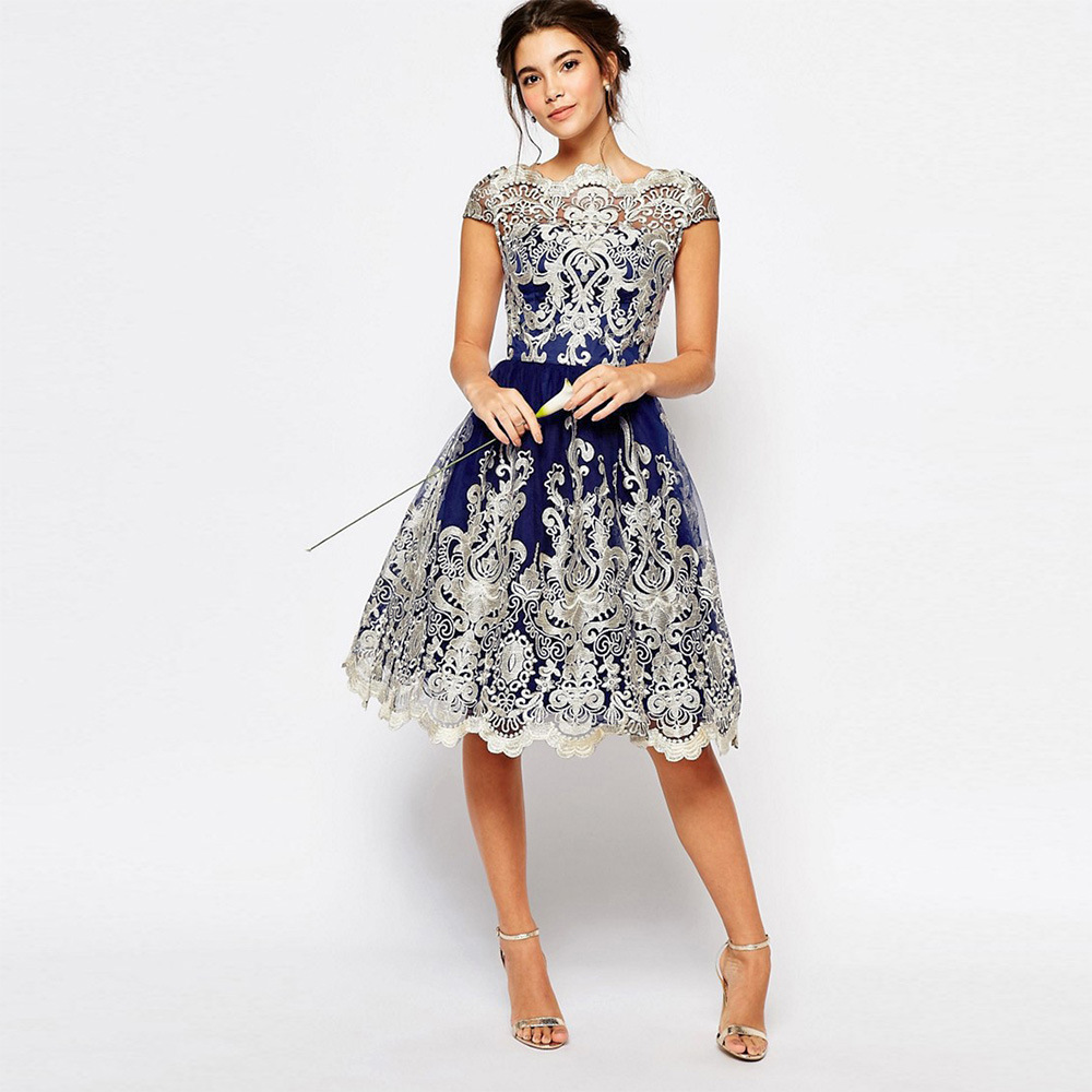 Women Summer Dress Vintage Embroidery Dresses Hollow Out Flower Princess S M L XL