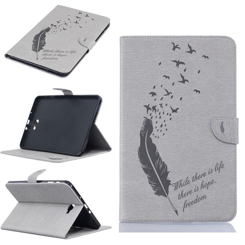 Nouveau Dessin Animé Caractéristique Pour Samsung T580 Pliant Flip PU Couverture pour Samsung Galaxy Tab Un 10.1 T580 T585 Permanent Tablet Couverture Coque