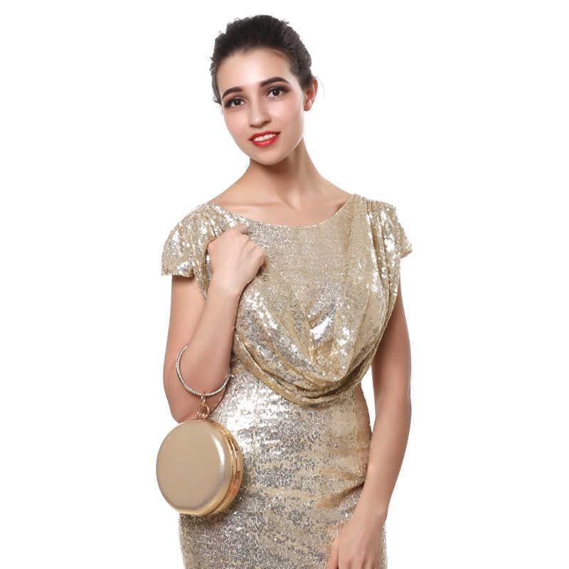 SEKUSA Круглые Женские вечерние сумки с бриллиантами, простые красные, синие, серебристые, черные, золотые, смешанные повседневные клатчи на цепочке, сумки на плечо