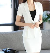 Women Short Sleeve Office Skirt Suits Sets Formal Blazer Work Lady Business Slim Outwear Tops Casual Career Black White Jacket