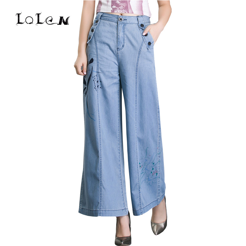 New Plus Size Loose Printed Wide Leg Jeans Fashion Thin Section Trousers Pants for Women