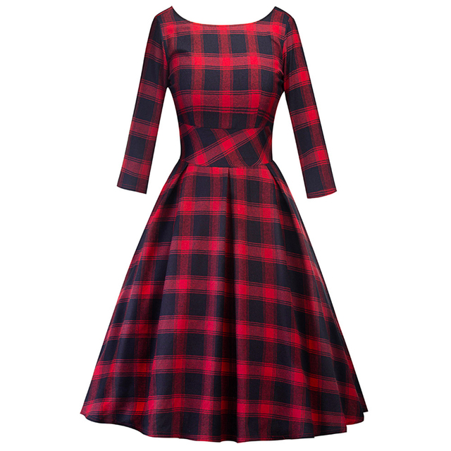 1950s Vintage Retro Red Tartan Checks Plaid Swing Dress