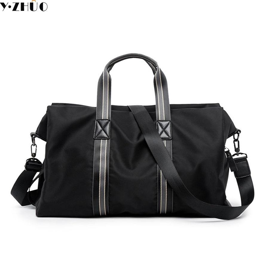 Y ZHUO men travel bag nylon waterproof black large capacity handbags messenger bags folding men crossbody shoulder duffel bags zhuo qi