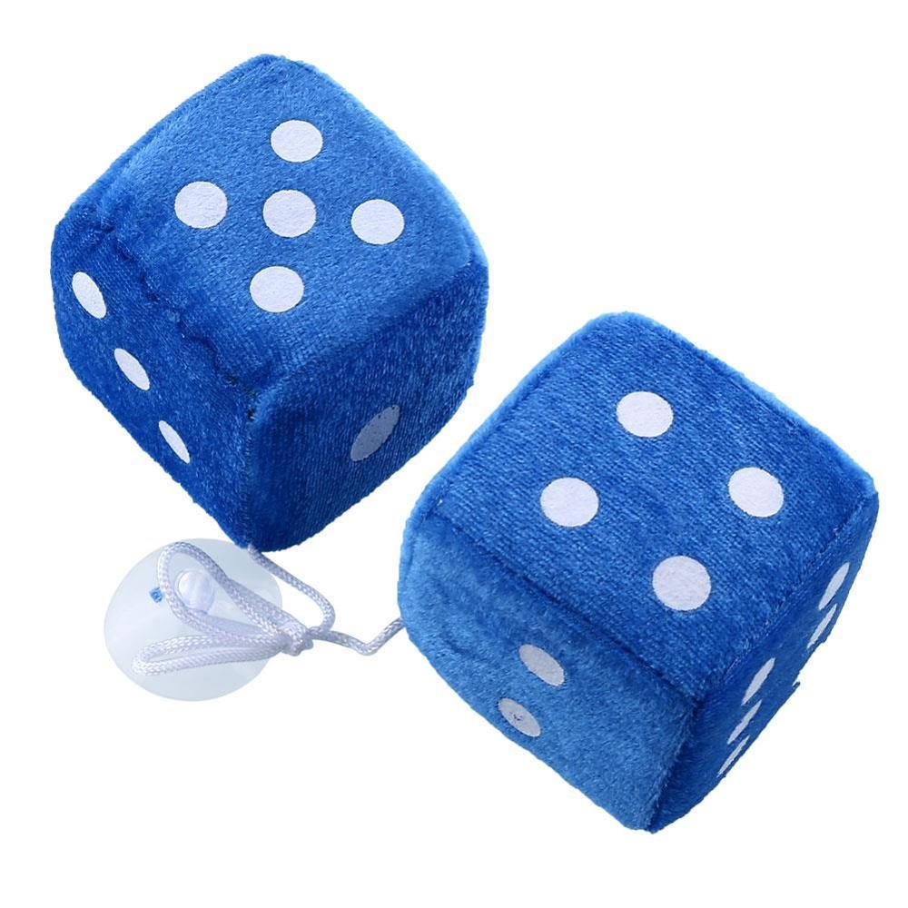 1 пара пушистых игральных костей в горошек, зеркальные вешалки заднего вида, украшение интерьера автомобиля, Стайлинг автомобиля, автомобильные аксессуары - Название цвета: blue