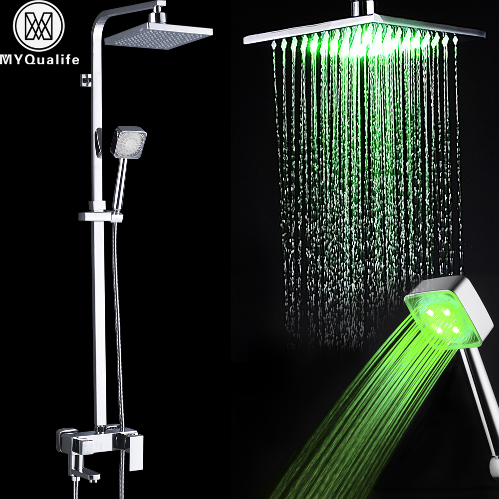 Online Shop Led Light Shower Faucet Set Square shower head Color ...