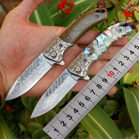 Damascus pattern folding knife 5CR13 blade natural wood handle pocket survival camping knives Leather case flipper EDC knife