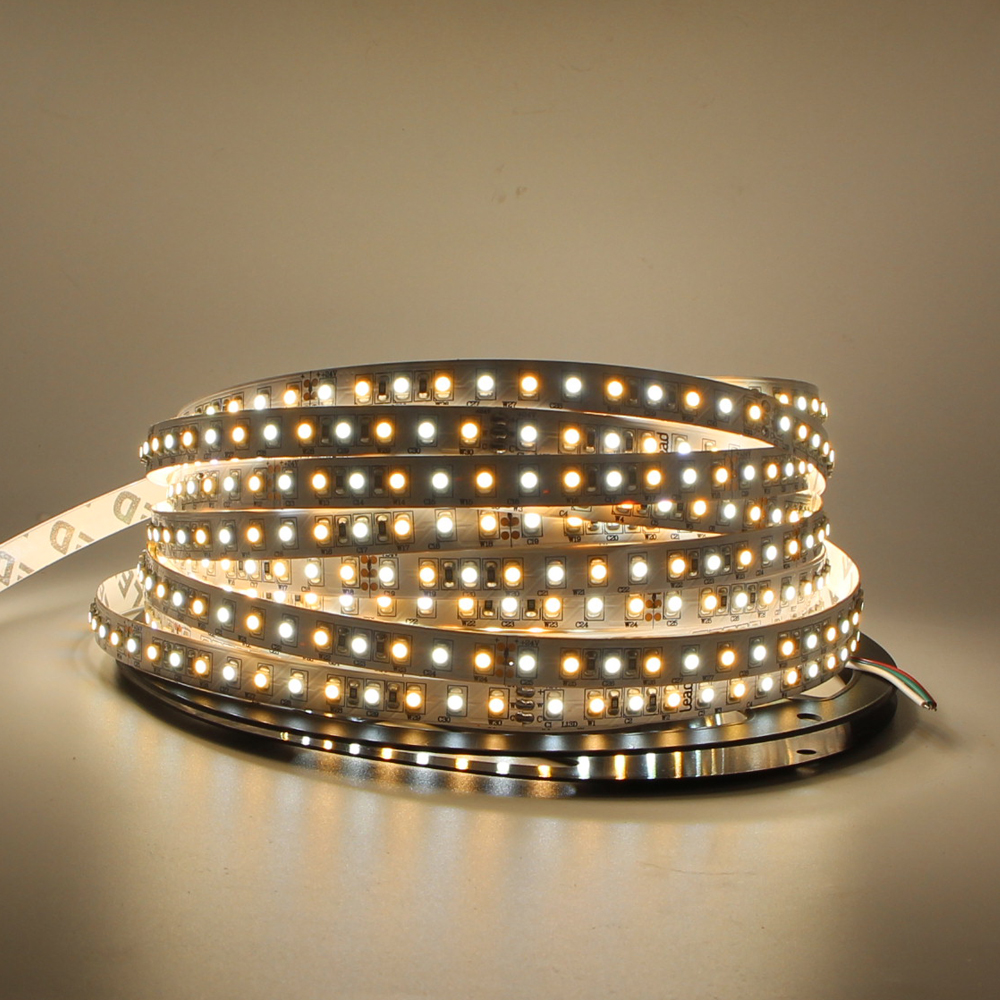 5m 10m CCT LED Strip 24V Dimmable CRI>95 SMD 3528 LED WW CW LED Strip Light DC Warm Cool Color Adjust Flexible Tape Ribbon Light arlight лента 5 метров rt 2 5000 24v cool 15k 5mm 2x 3528 600 led lux