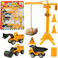 Baby toys 4pcs/lot included 3 pull back engineering vehicle truck boy toys excavator Road roller crane tower children model toys