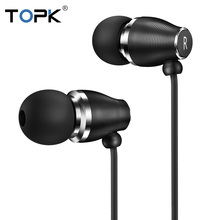 TOPK F07 3.5mm Jack In-ear Sport Wired Earphones Stereo Bass Earphone with mic for iPhone Samsung Xiaomi Phone Computer Headset