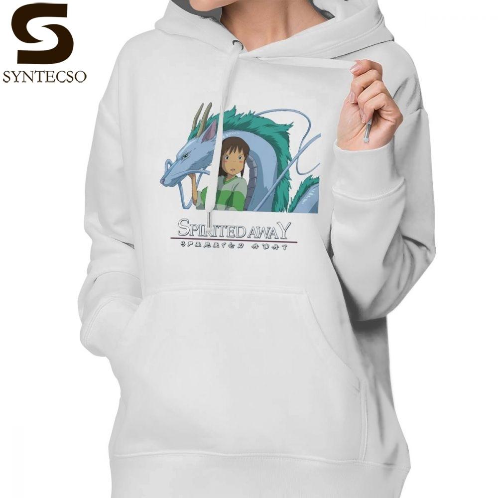Sweat à capuche Dragon japonais à capuche Chihiro et Haku Studio Ghibli sweat à capuche en coton gris femme Streetwear pull à capuche
