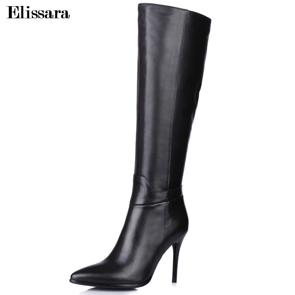 Elissara Women High Heels Knee High Boots Winter Boots Female PU+Genuine Leather Zip Pointed Toe Shoes Plus Size 33-43 2016 women knee high boots leather winter boots pointed toe zip casual shoes women high heels big size 32 45 black boots woman