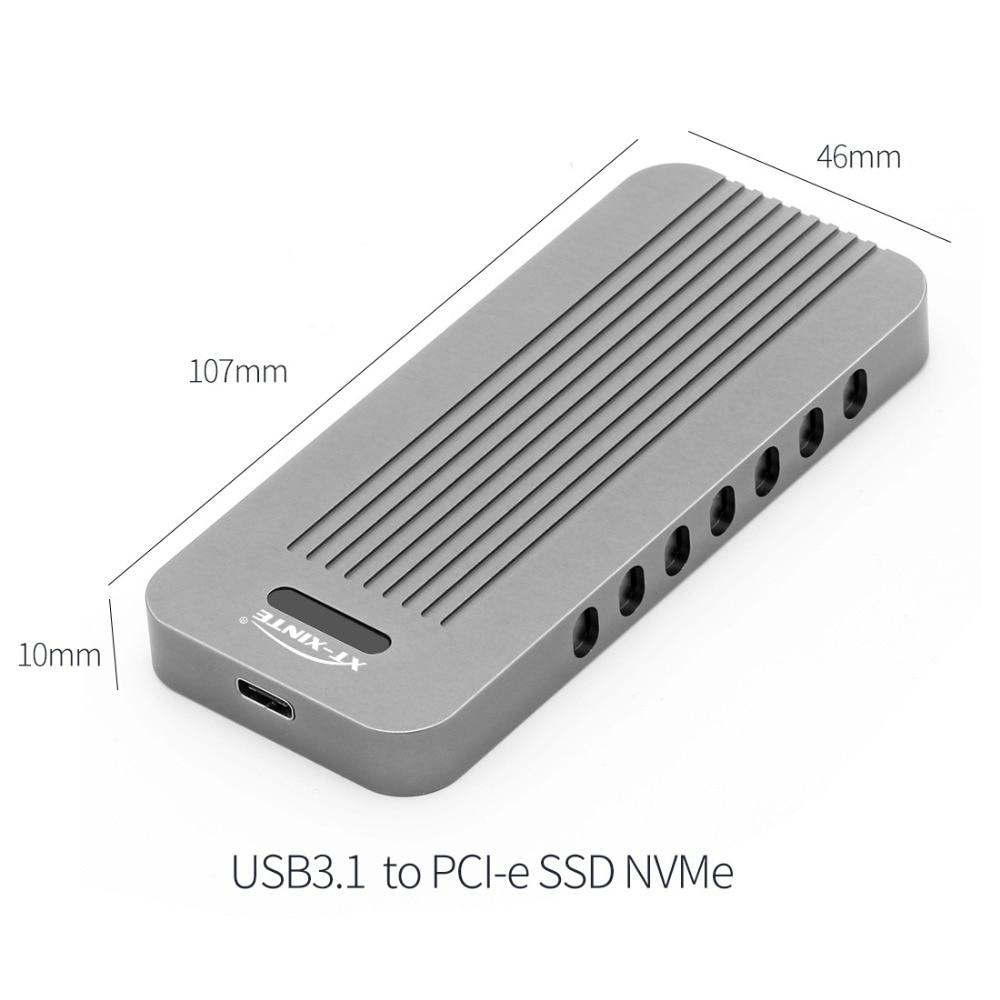 Boîtier en alliage d'aluminium NVMe PCIE USB3.1 HDD boîtier M.2 à USB disque dur SSD type de boîtier C 3.1 M connecteur de clé boîtier HDD pour bureau - 5