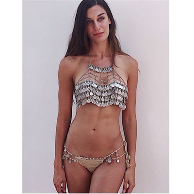 Festival wear rave boho halter top irridescen holographic rave body chain coin top tropical print metal ring halter top