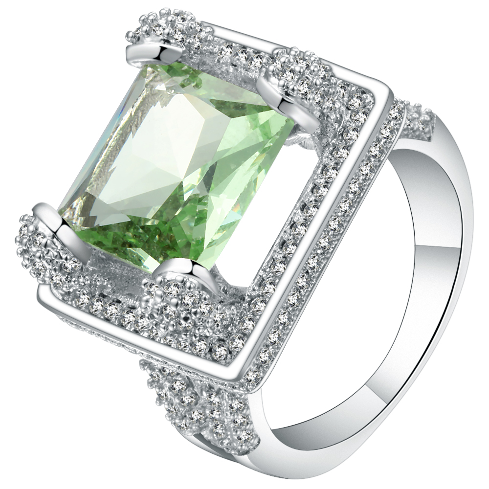 Luxury Green Micro Pave Zircon Square Design Ladies Ring White Gold Filled Vintage CZ Custom Jewelry Bands Finger Ring For Women