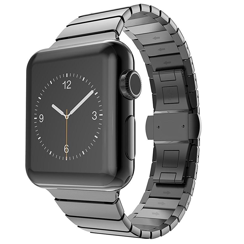 все цены на Luxury watchband metal straps For Apple watch band 38 42 mm stainless steel Link bracelet butterfly loop black silver arrival онлайн