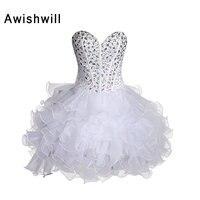 Champagne Red Blue White Cocktail Dresses 2018 Rhinestones Beaded Organza Mini Short Prom Dress Vestido De