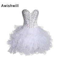 Champagne / Red / Blue / White Cocktail Dresses 2018 Rhinestones Beaded Organza Mini Short Prom Dress Vestido de Festa Curto
