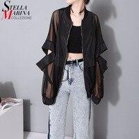 Free Shipping 2016 Autumn Women Mesh Blouse Tops Long Sleeve Hollow Out Cut Out Zipper Patchwork