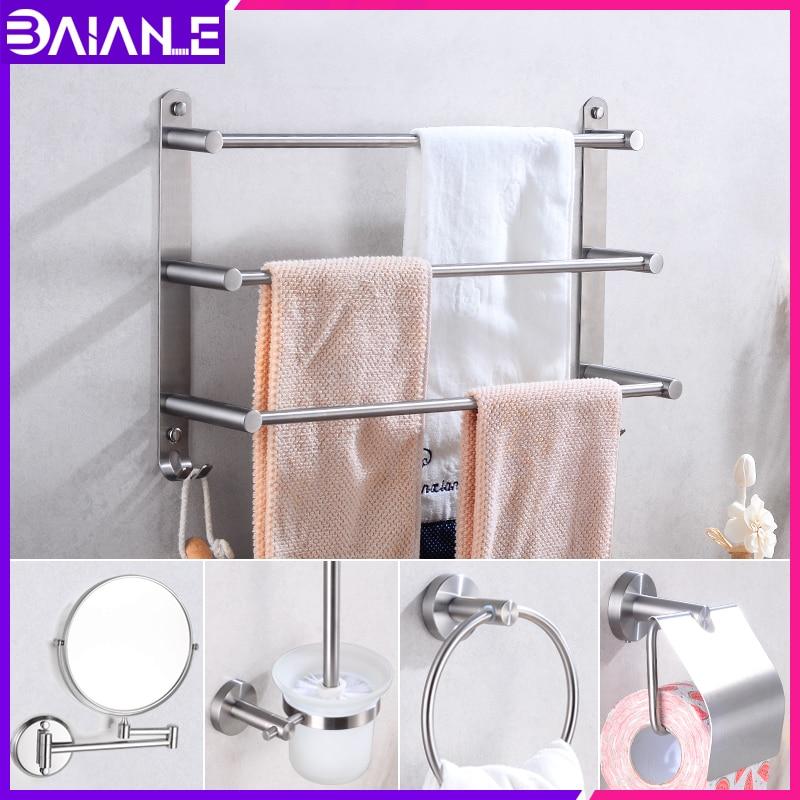 Home Improvement Useful Black Multi-function Corner Showe Shelf Toilet Paper Holder Bath Folding Towel Rack Wall Hanging Retro Bathroom Pendant Set