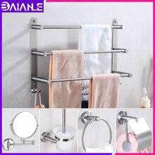 цена Bathroom Stainless Steel Towel Holder Wall Mounted Towel Rack Hanging Holder Single Towel Bar Ring Robe Hook Toilet Paper Holder онлайн в 2017 году