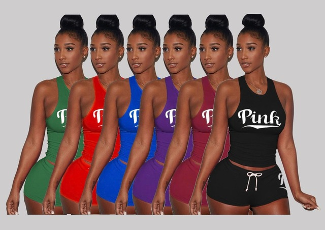 Pink Letters Print Tank Top Shorts Two Piece Set Sexy Sleeveless Women Tracksuit Club Outfits Summer Sporting Suits 2 Piece Sets