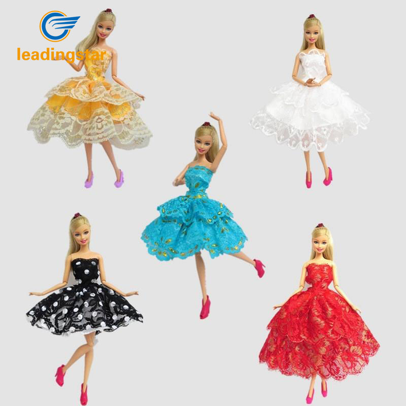 LeadingStar 5pcs Party Costume Clothing Ballet Skirt Cake Dress for Barbie Doll Dress Gift for baby girl Accessories zk10 leadingstar barbie doll dresses 6 party dress 12 casual skirt set random color and styles with doll s accessories zk30