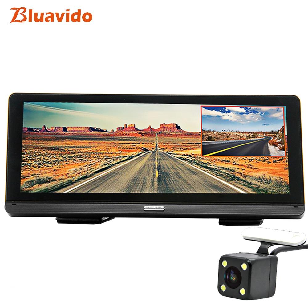 Bluavido 8 ips Автомобильный dvr gps 4 г Android навигация ADAS Full HD 1080 P Dash камера двойной объектив Автомобильный видео рекордер дистанционный живой монит