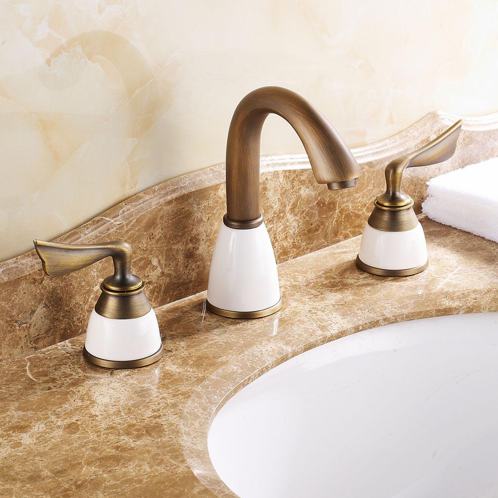 ФОТО Modern Antique Brass Dual Handle 8-inch Widespread Bathroom Basin Mixer Faucet Deck Mounted Bathroom Sink Faucet