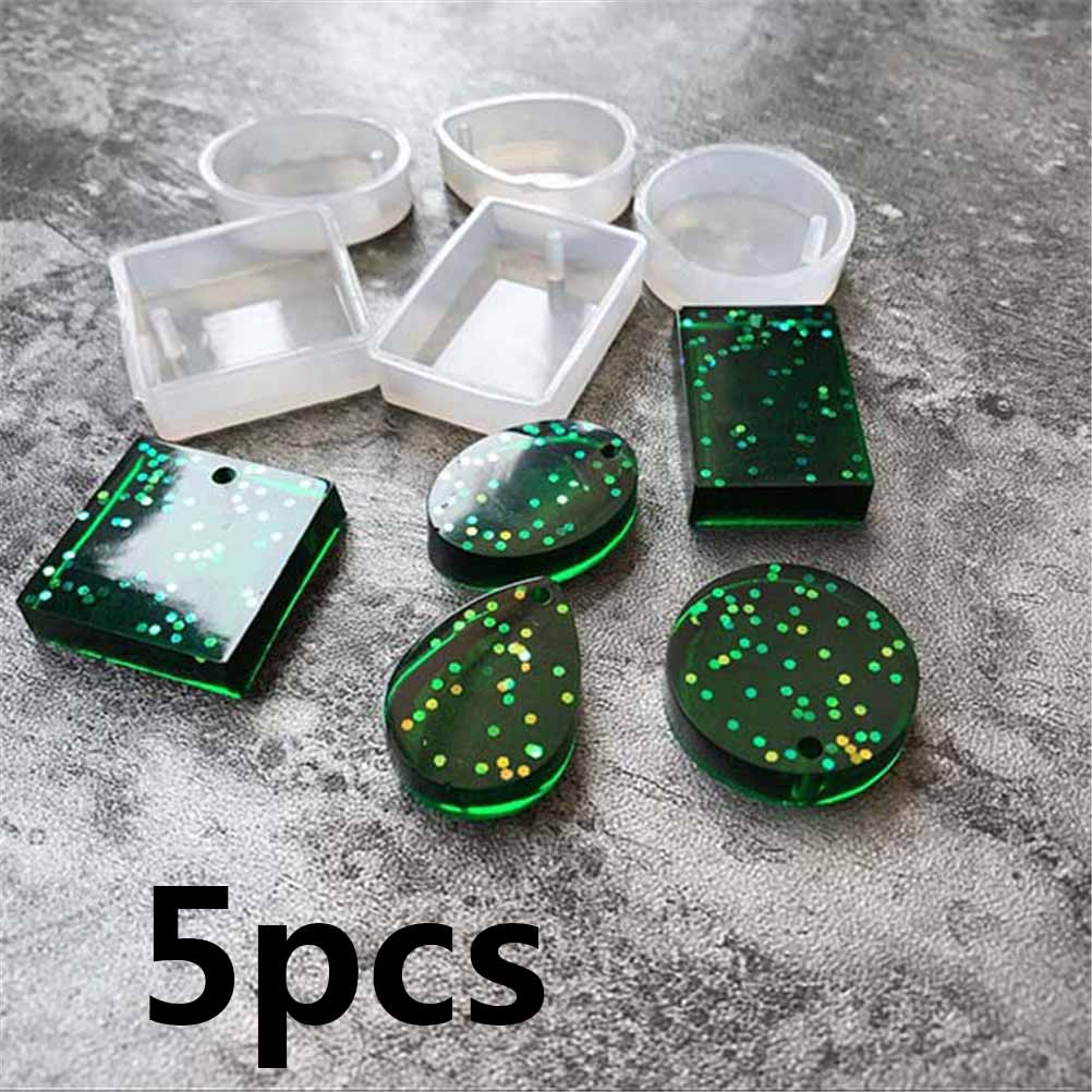 5pcs Round Square Oval Waterdrop Rectangle Shape Hole Silicone Mold DIY Craft Epoxy Resin Molds Necklaces Pendant Silicone Mould(China)