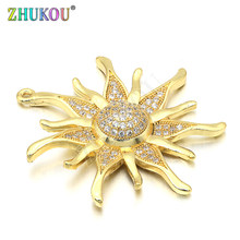 34*36mm Ottone Micro Pavimenta Cubic Zirconia Sun flower Pendenti di Fascini, Colore misto, foro: 1.3mm, modello: VD286(China)