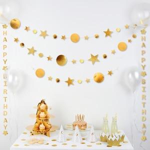 Image 4 - 4m 골드 실버 스타 서클 파티 장식 종이 Garlands 웨딩 스크린 장식 생일 파티 용품 소녀 침실 장식