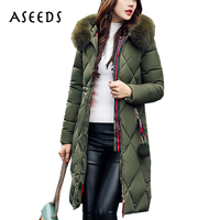 Winter Padded Women Long Coat 2017 Cotton Military Fur Hooded Parka Jacket Women Long Sleeve Thicken