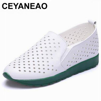 CEYANEAO2019Shoes Woman 100% Genuine Leather Women Shoes Flats 2 Colors Loafers Slip On Women's Flat Shoes Moccasins Plus Size