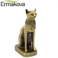 ERMAKOVA Metal Bastet Statue Egyptian Cat God Figurine Cat in Ancient Egypt Metal Sculpture Home Desk