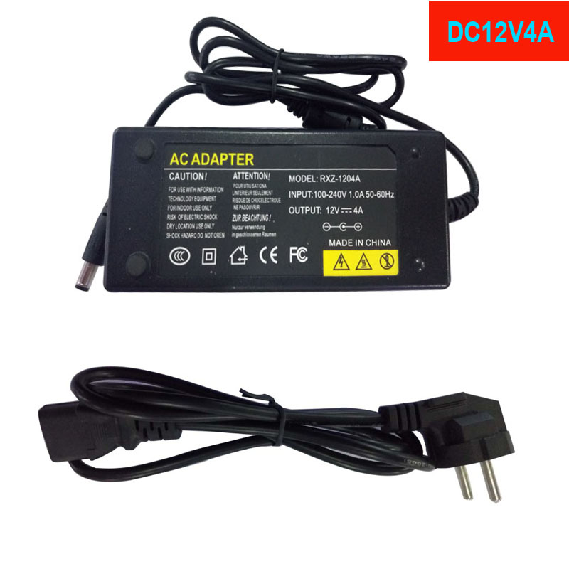 Power Supply Adapter input AC110v/220V output DC 12V 4A 100W IC protection  EU/AU/US/UK plug DC 5.5X2.1mm for IP cam Poe switch qualified ac 110 240v to dc 12v 1a cctv power supply adapter eu us uk au plug abs plastic