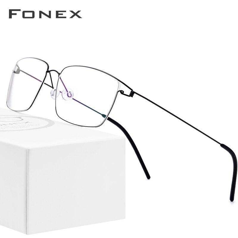 FONEX Titanium Alloy Optical Glasses Men Myopia Korean Eyeglasses Frame New Women Prescription Screwless Eyewear 98624