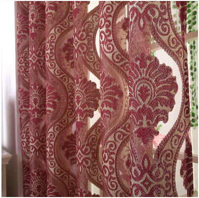 European Burgundy Yarn Dyed Tulle Curtains For Bedroom Jacquard Sheer Blind Grommets Top Decoration Window