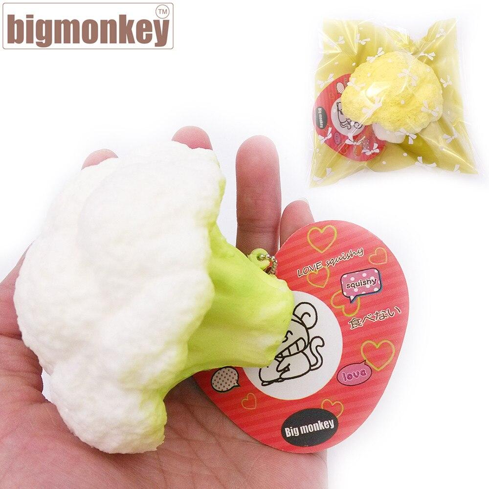 imágenes para Mono grande 8.5 cm nueva llegada de Kawaii Blanco verde Caqui lento aumento de Coliflor con encanto blando de juguete