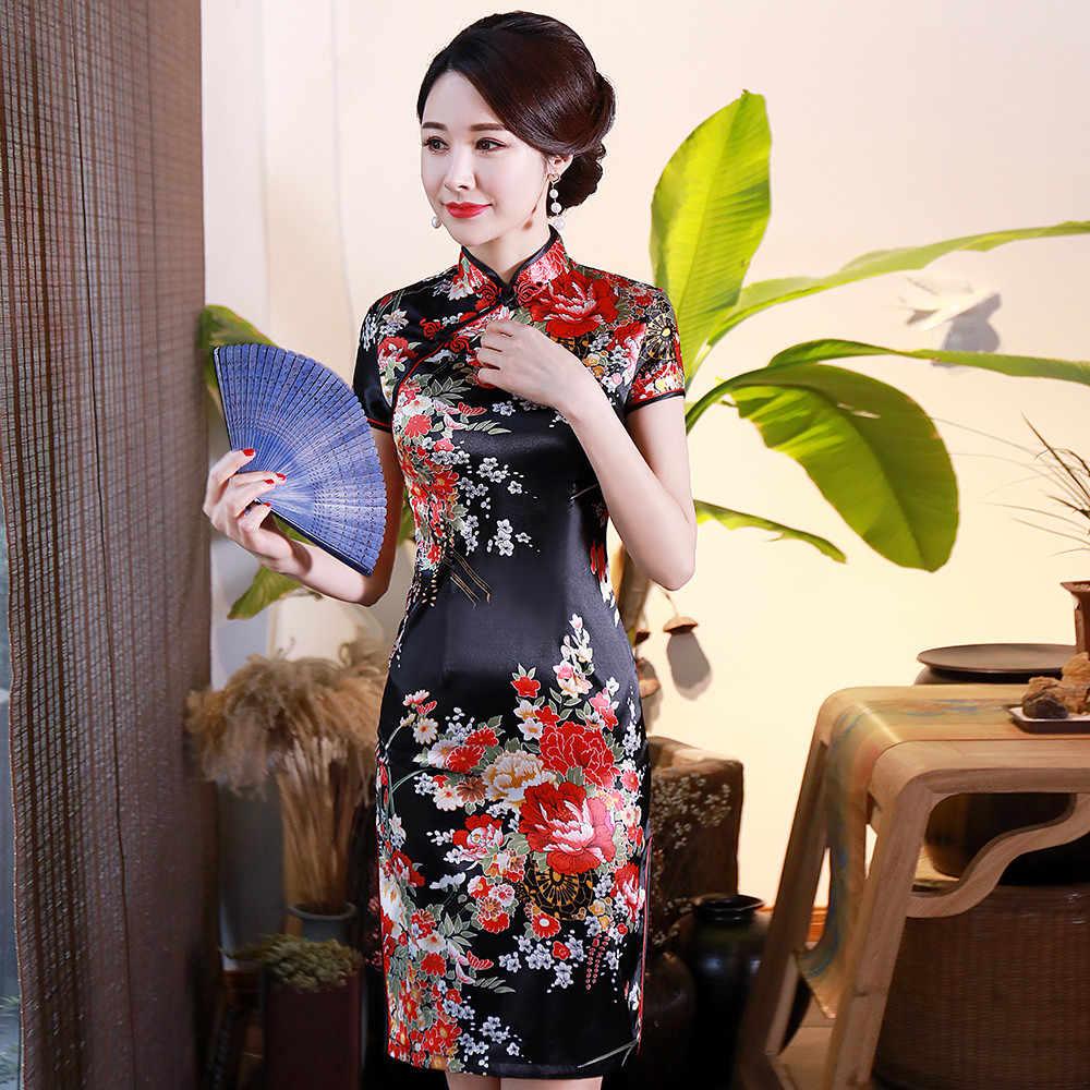 שחור הדפסת פרח נשים קצר Slim Cheongsam סקסי גבוה פיצול הסיני מסורתי שמלה בתוספת גודל זהורית Qipao Vestidos S-6XL