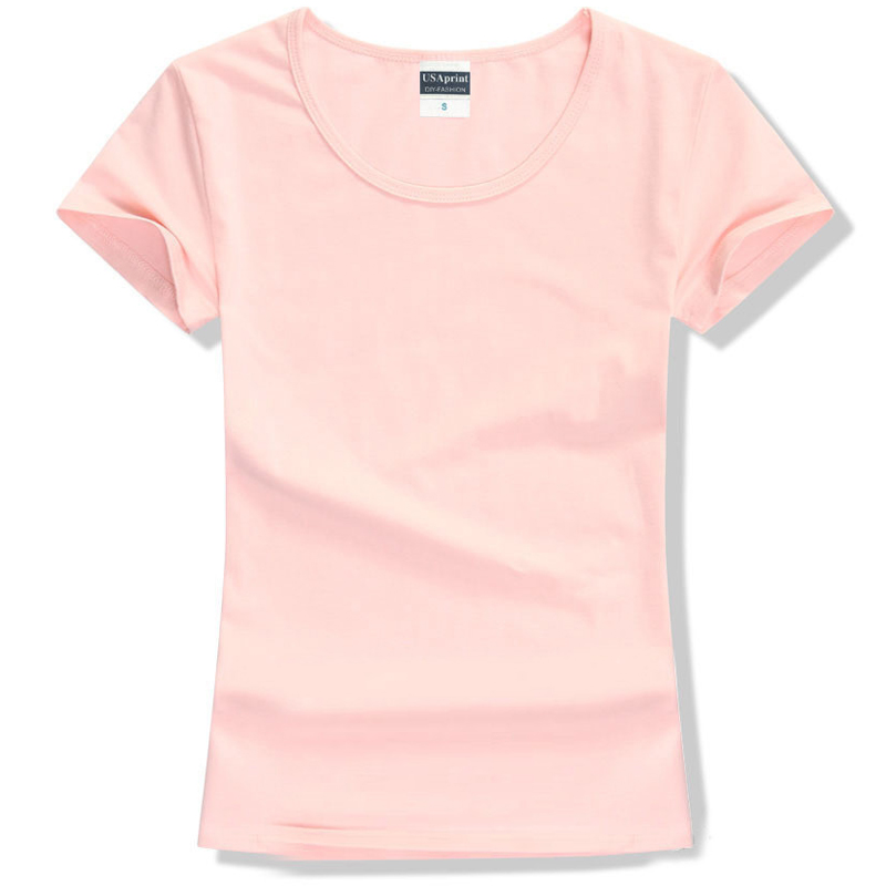 T Shirt Women Casual t-shirt Short Sleeve tshirt Cotton Solid O-neck Tee Tops Womens kor ...