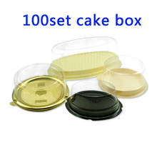 100set Clear Plastic Ellipse round Baking Cake Dome packaging Boxes Mini Cookie holder Muffin Pastry Food Cake Stand Container(China)