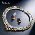 ZAKOL Mujeres Elegantes y de Lujo Oro Blanco Plateado Water Drop Shape Aretes de Circonio Cúbico Joyería de La Boda Collar Conjunto FSSP110