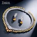 ZAKOL Women Elegant and Luxury White Gold Plated Water Drop Shape Cubic Zircon Earrings Necklace Wedding Jewelry Set FSSP110