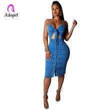 Blue Denim Dress Spaghetti Straps Bodycon Midi Dress Women Summer Vestidos Button Jeans Dress Sexy Split Ladies Denim Dresses