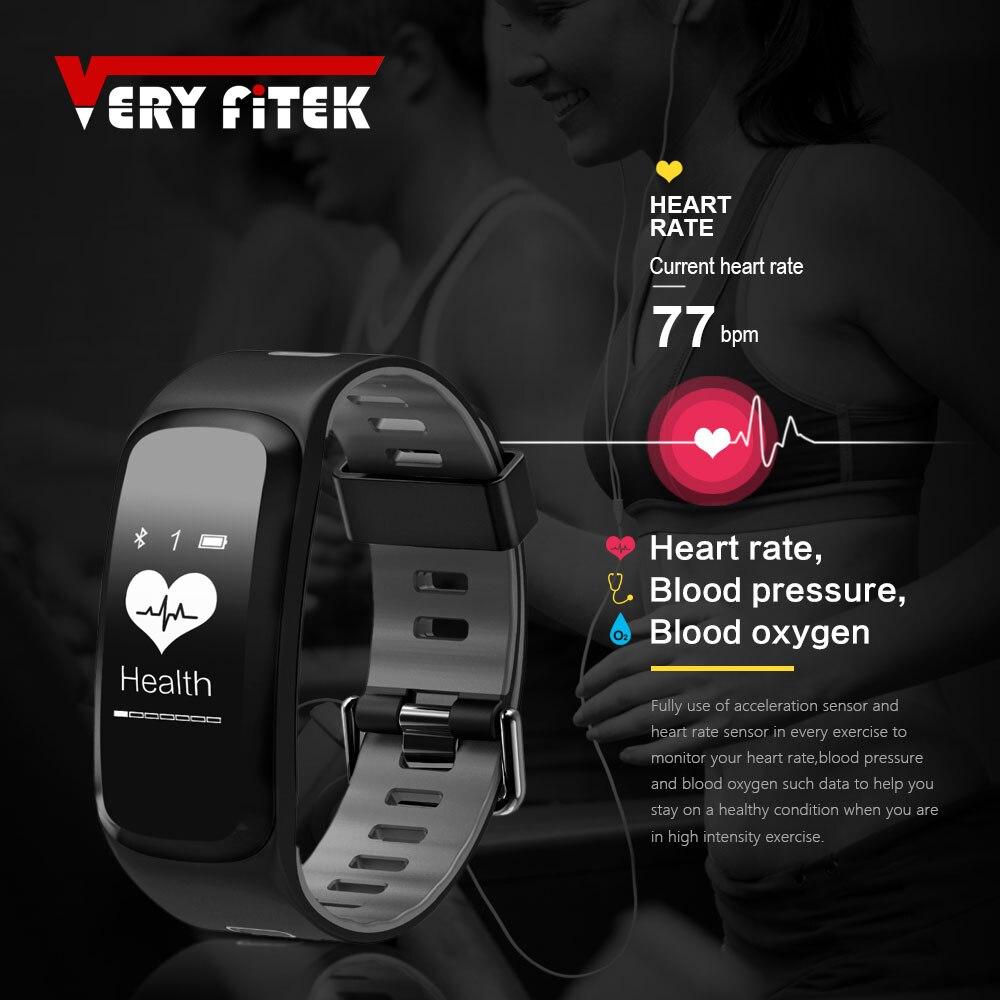 VERYFiTEK V2 Smart Fitness Armband IP68 Wasserdicht Blutdruck Sauerstoff Pulsmesser Smartband Armband Für IOS Android